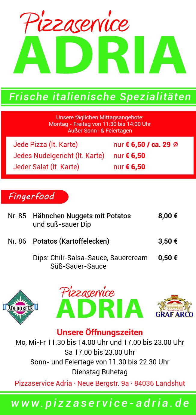Speisekarte Pizzaservice Adria Fingerfood