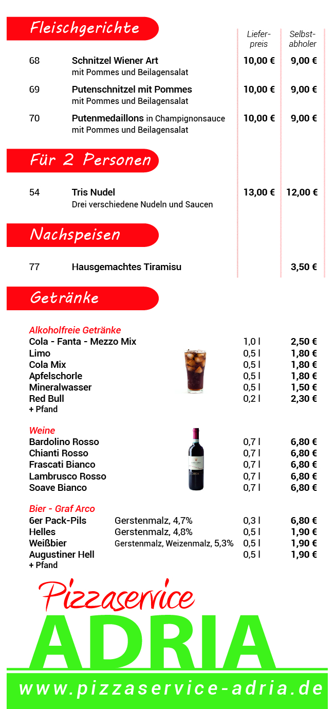 Speisekarte Pizzaservice Adria Getränke